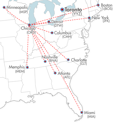 AirTime Express Air Freight Services Canada USA Truck Load - Us map boston new york